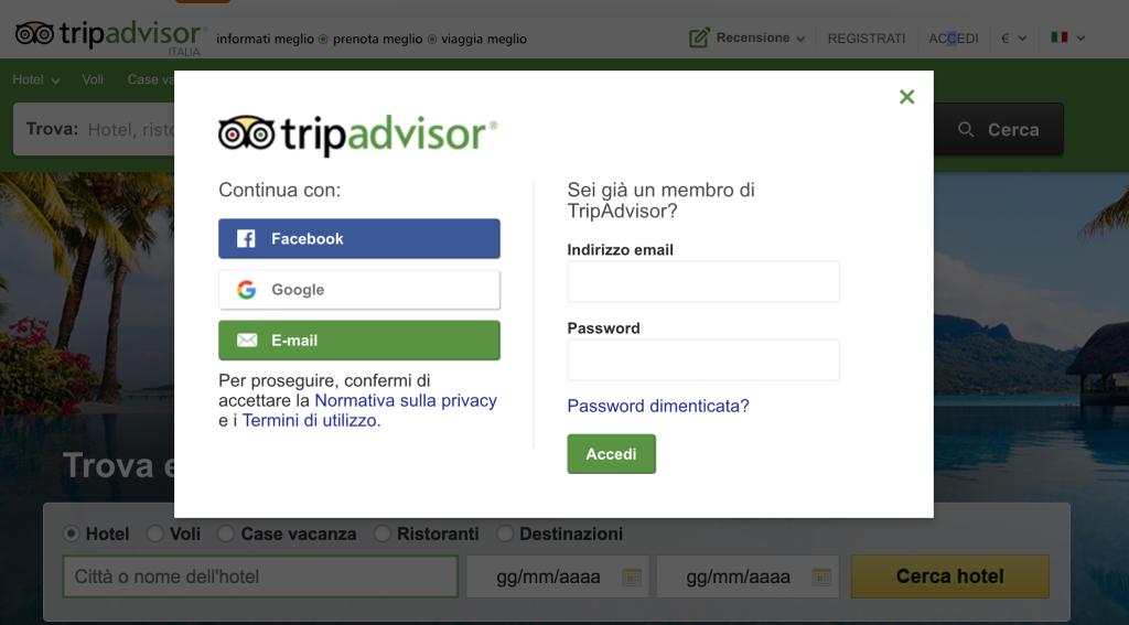 login tripadvisor