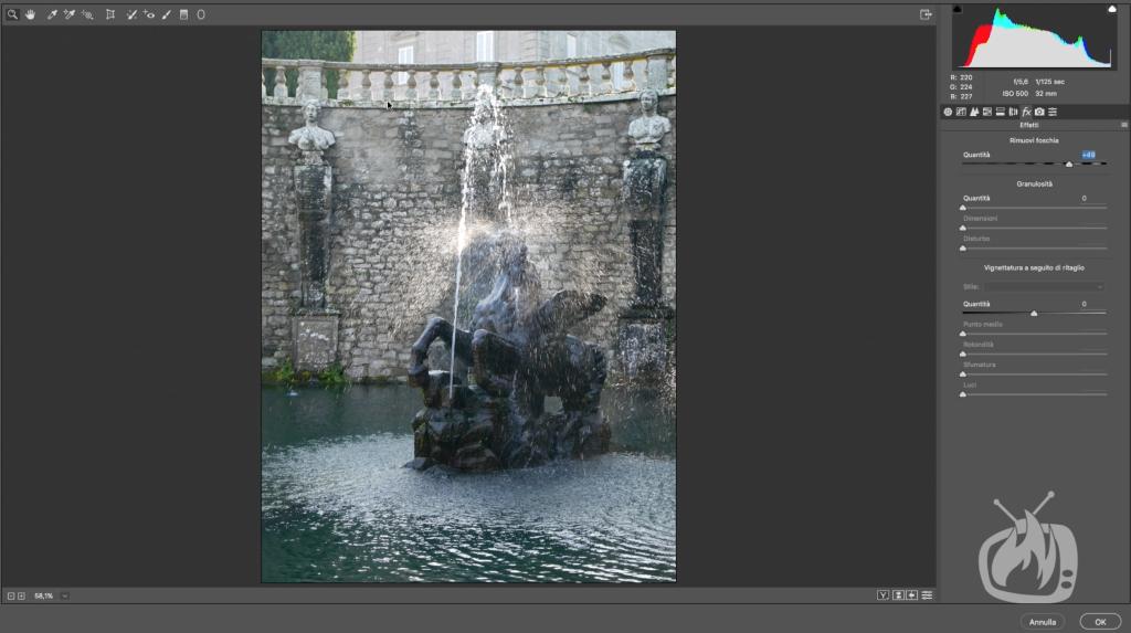 photoshop rimuovi foschia statua